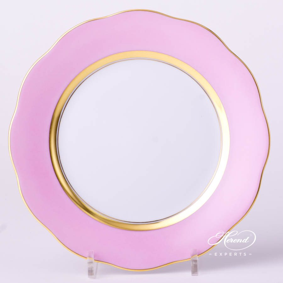 Dessert Plate 20517-0-00 CP6 Pink monochrome decor. Herend porcelain tableware. Hand painted