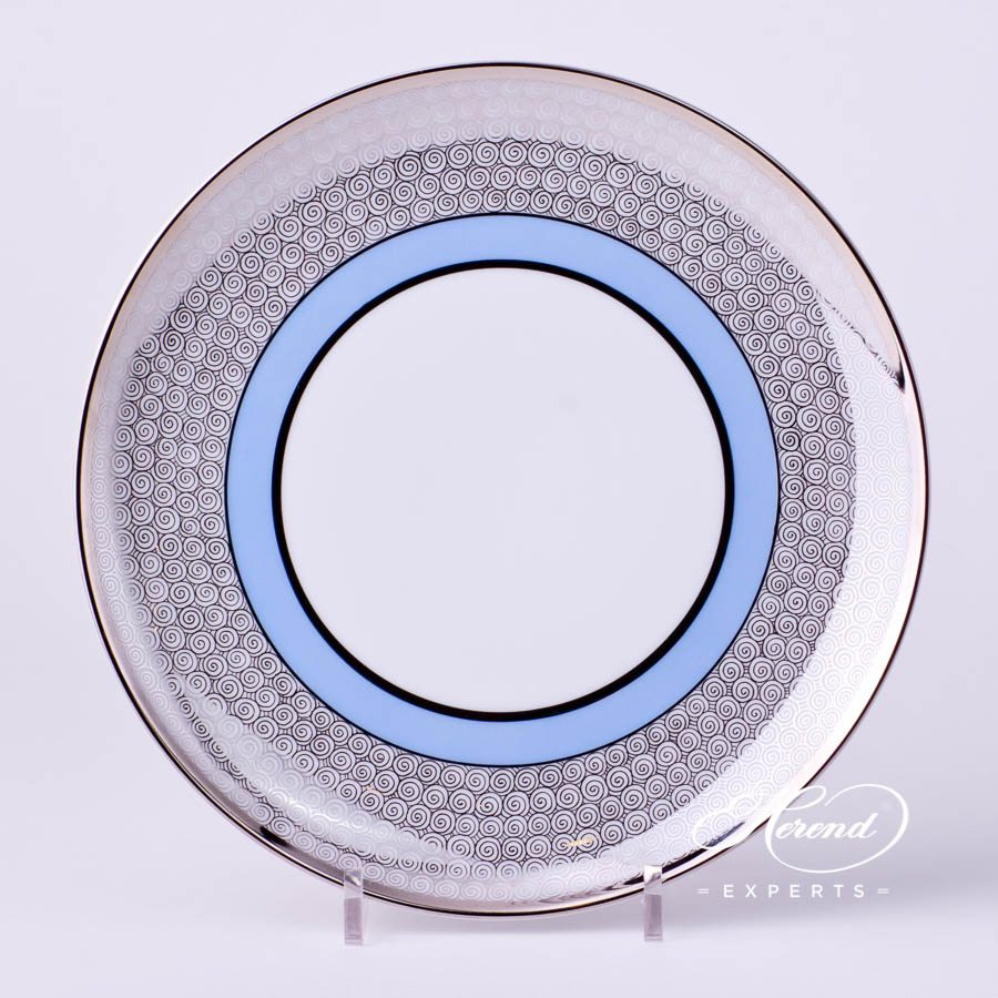 Dessert Plate 2538-0-00 ORIENTB-PT Orient Blue with Platinum decor. Herend porcelain tableware. Hand painted
