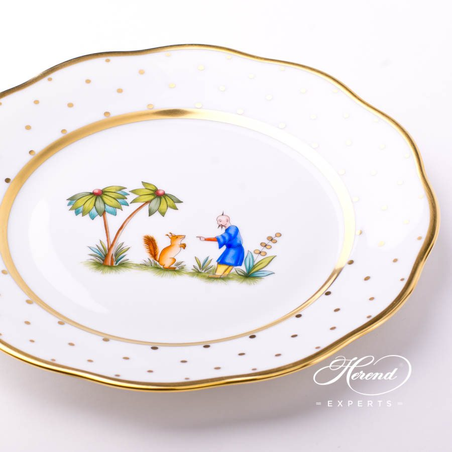 Dessert Plate 20517-0-00 FODOS Oriental Showmen Simple or Asian Garden decor. Herend porcelain tableware. Hand painted