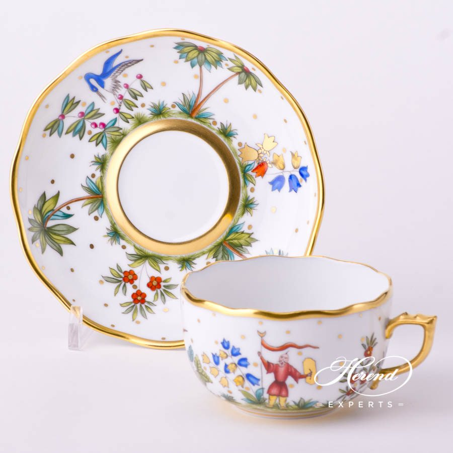 Tea Cup with Saucer 20724-0-00 FODO Oriental Showmen or Asian Garden decor. Herend porcelain tableware. Hand painted