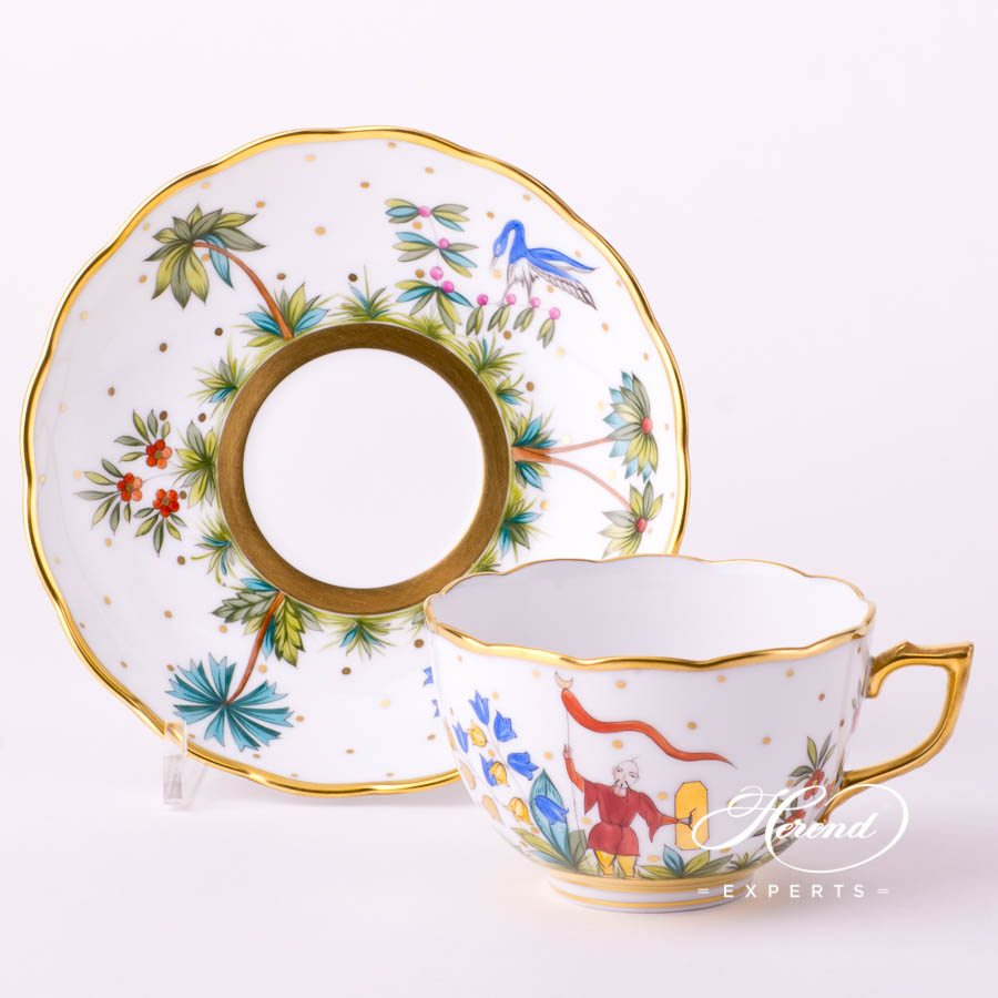 Tea Cup with Saucer 20701-0-00 FODO Oriental Showmen or Asian Garden decor. Herend porcelain tableware. Hand painted