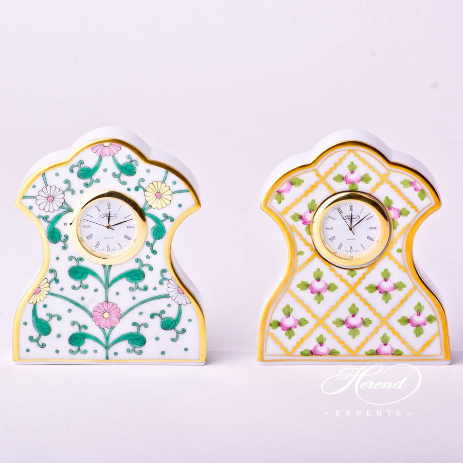Table Clock 8085-0-00 SBC Green Flower and Sevres Roses SPROG decors. Herend porcelain ornaments. Hand painted