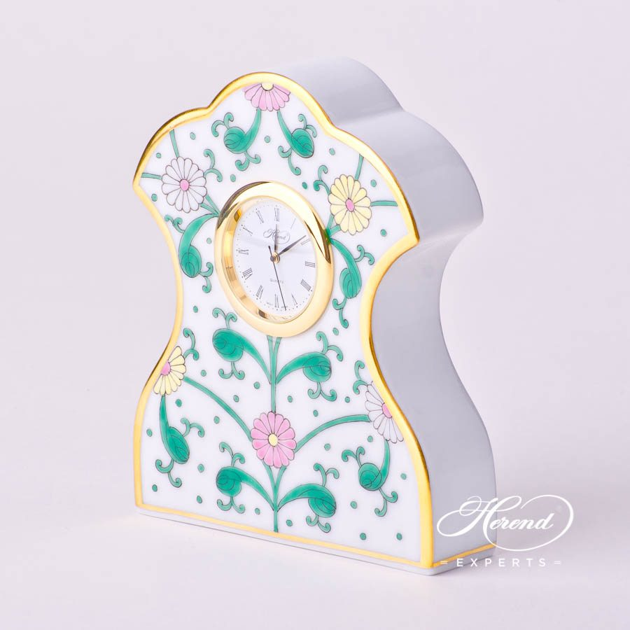Table Clock 8085-0-00 SBC Green Flower decor. Herend porcelain ornaments it is famous Herend Chinoiserie style decor. Hand painted