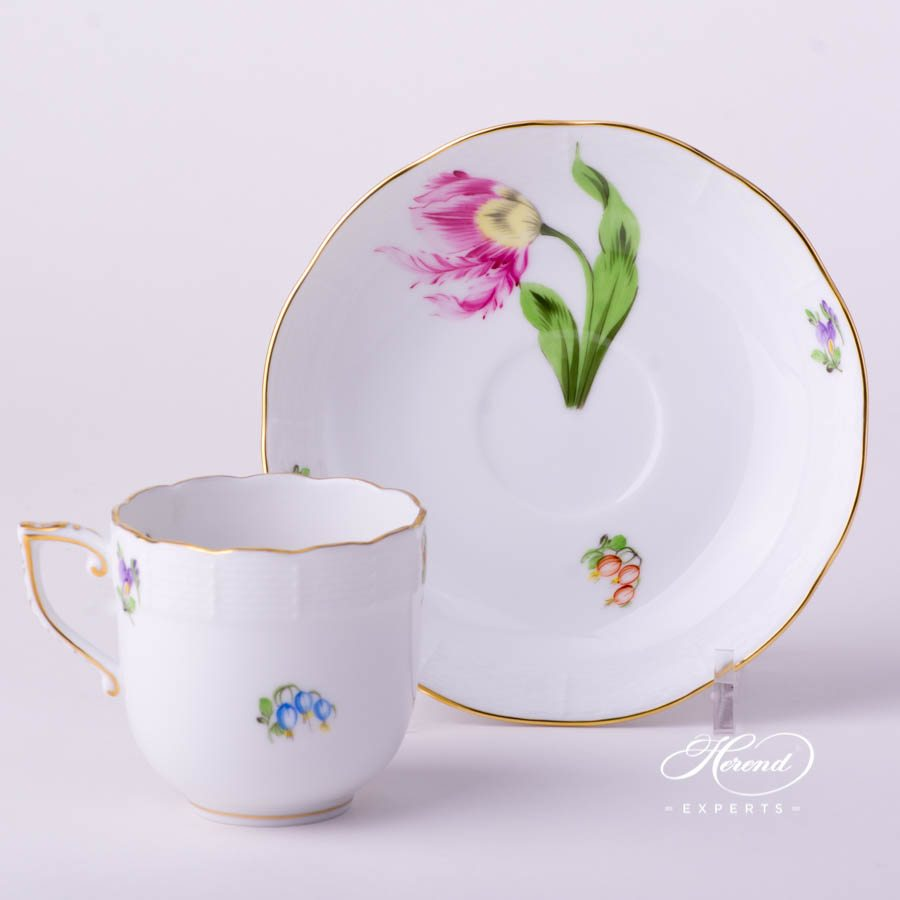 Coffee Cup and Saucer 707-0-00 KY Kitty - Tulip Flower decor. Herend porcelain tableware. Hand painted