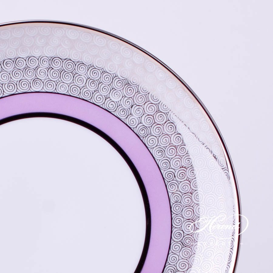 Dessert Plate 2538-0-00 ORIENTL-PT Orient Lilac with Platinum decor. Herend porcelain tableware. Hand painted