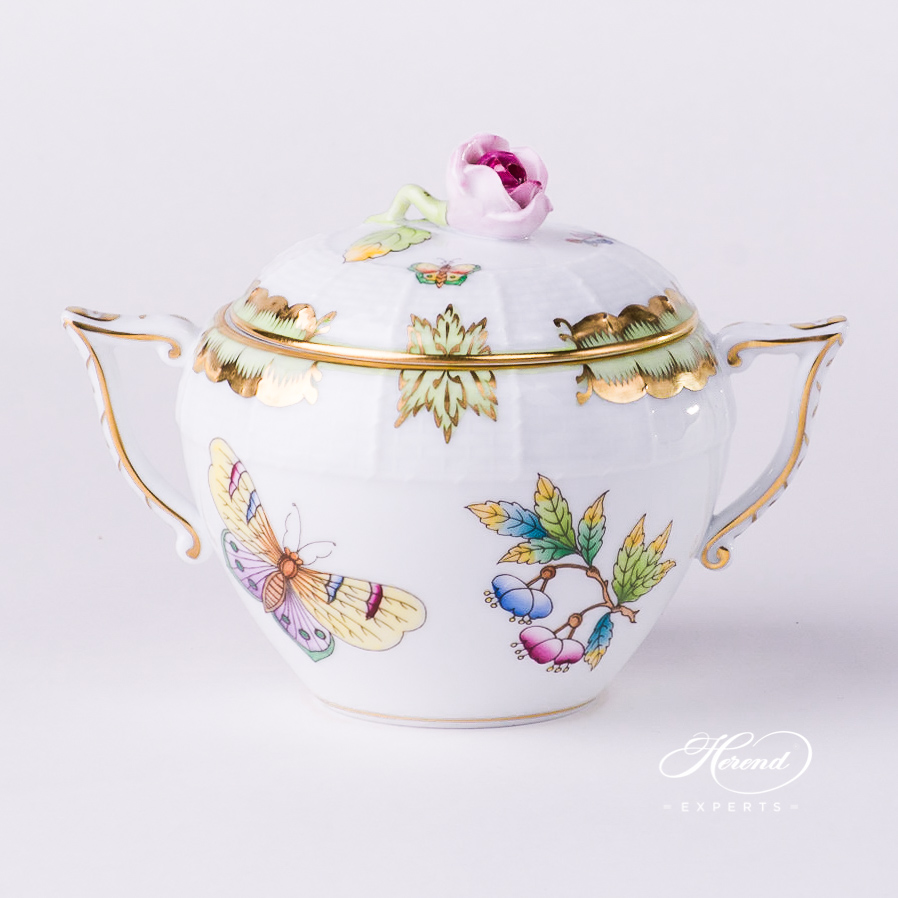 Sugar Basin w. Rose Knob 471-0-09 VBO Queen Victoria design. Herend fine china tableware. Hand painted
