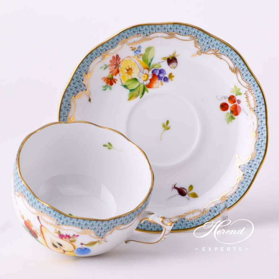 Tea Cup with Saucer 724-0-00 CFR-ET Fruits with Turquoise Fish Scale decor. Herend porcelain tableware. Hand painted