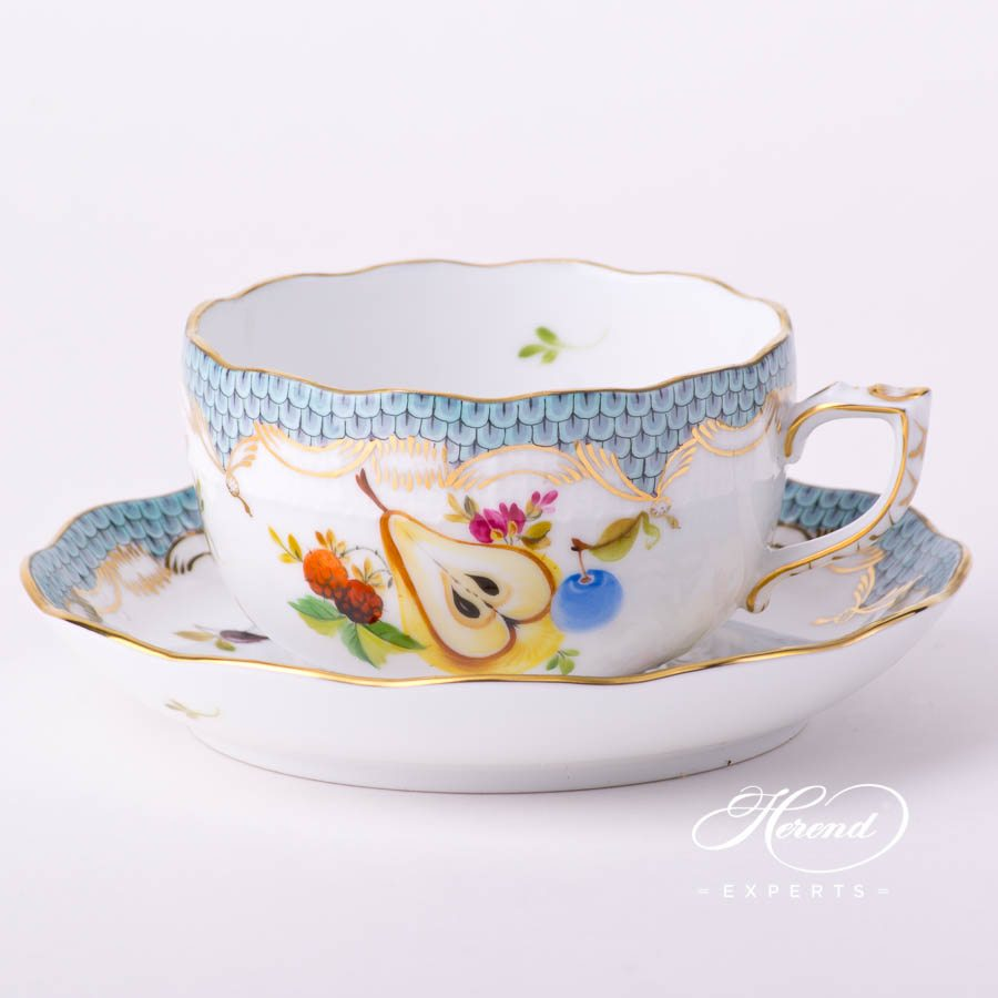 Tea Cupwith Saucer724-0-00 CFR-ET Fruits with Turquoise Fish Scale decor. Herend porcelain tableware. Hand painted