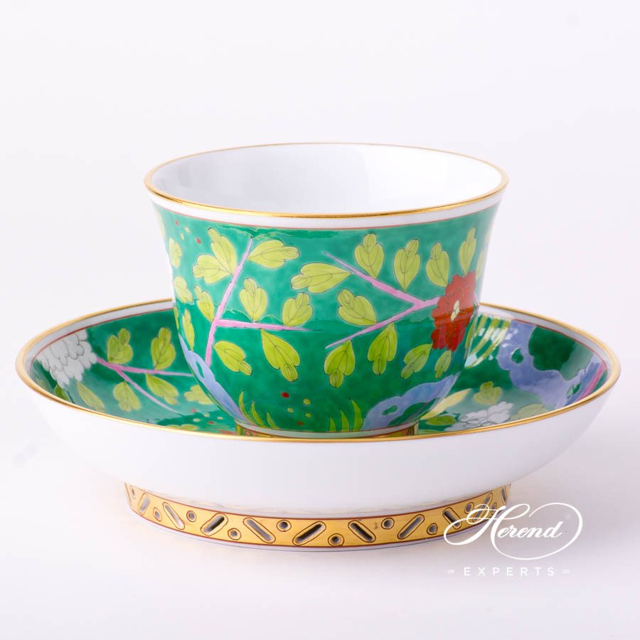 Tea Cupwith Saucer3361-0-21MACV Macao Green decor. Herend porcelain tableware. Hand painted