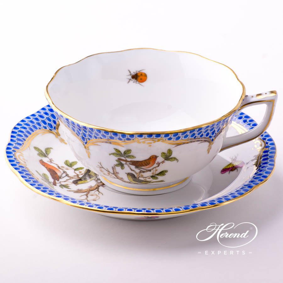 Tea Cup with Saucer 734-0-00 RO-EB Rothschild Bird Blue Fish Scale design. Herend fine china tableware. Hand painted