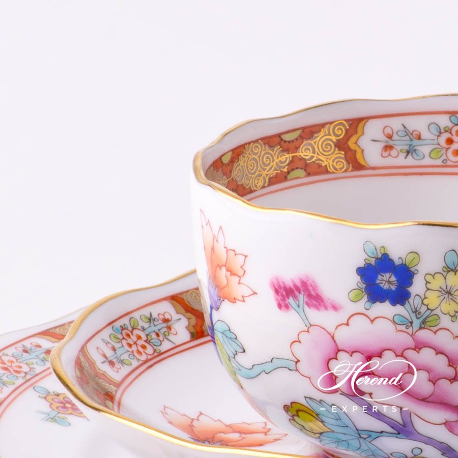 Mini Tea Set - Shanghai SH decor. Herend porcelain tableware. Hand painted. Tea Cup with Dessert Plate