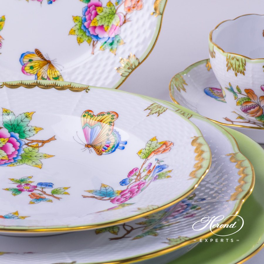 Place Setting 6 Pieces - Herend Queen Victoria VBO decor. Herend porcelain tableware. Hand painted