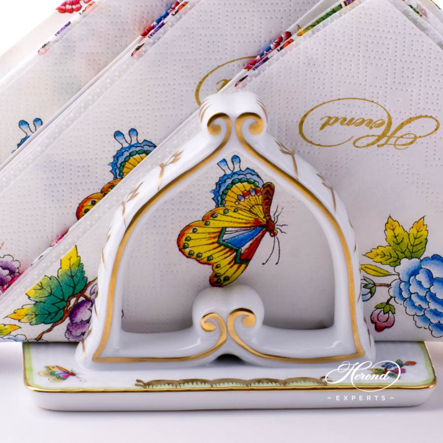 Napkin Holder 269-0-00 VBO Queen Victoria decor. Herend porcelain tableware. Hand painted