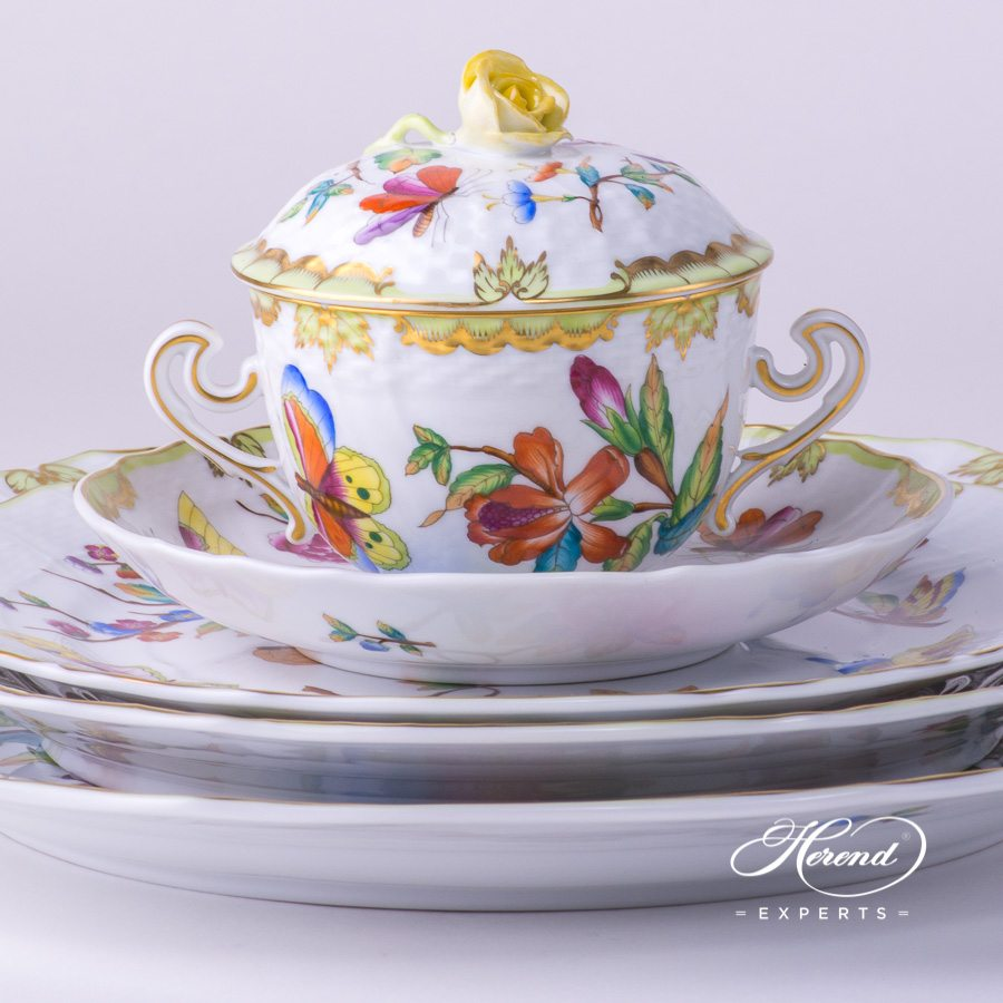 Place Setting 5 Pieces - Herend Old Queen VICTORIA decor. Herend porcelain tableware. Hand painted