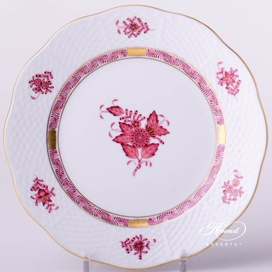 Dessert Plate 519-0-00 AP2 Chinese Bouquet Light Raspberry / Apponyi Light Purple - AP2 decor. Herend porcelain tableware. Hand painted