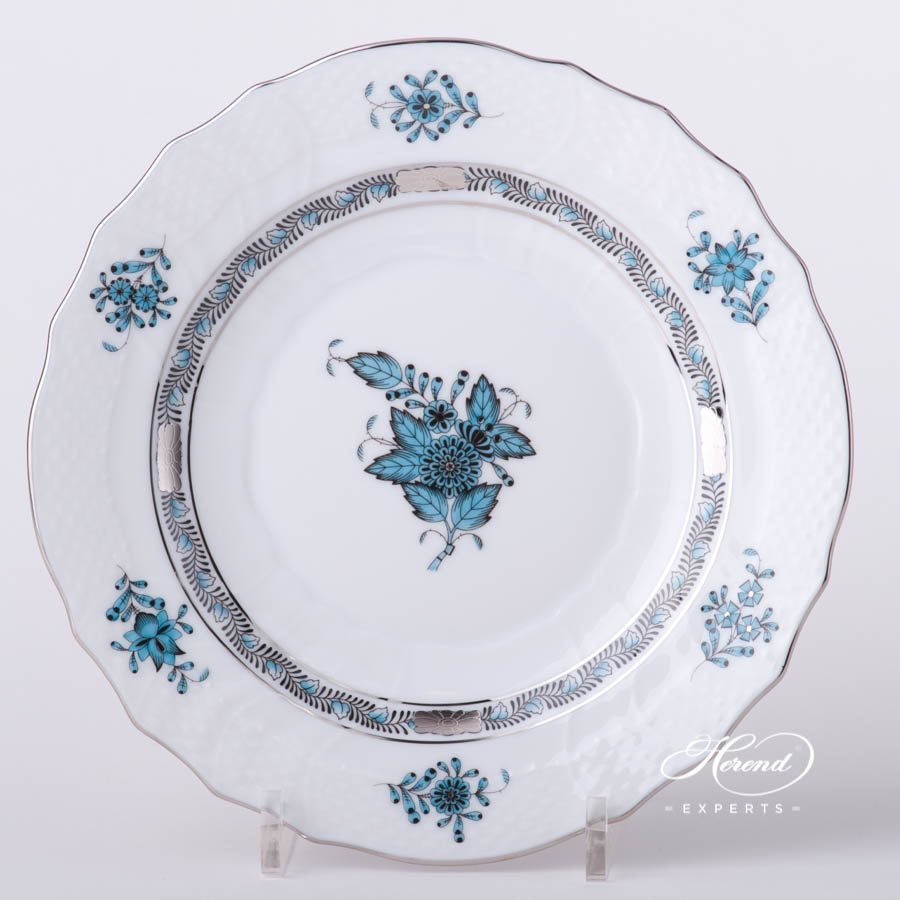 Dessert Plate 1518-0-00 ATQ3-PT Chinese Bouquet / Apponyi Turquoise with Platinum decor. Herend porcelain tableware. Hand painted