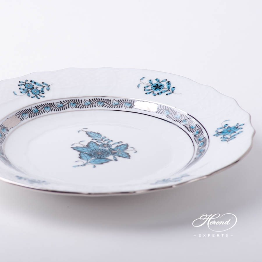 Dessert Plate1518-0-00 ATQ3-PT Chinese Bouquet / Apponyi Turquoise with Platinumdecor. Herend porcelain tableware. Hand painted