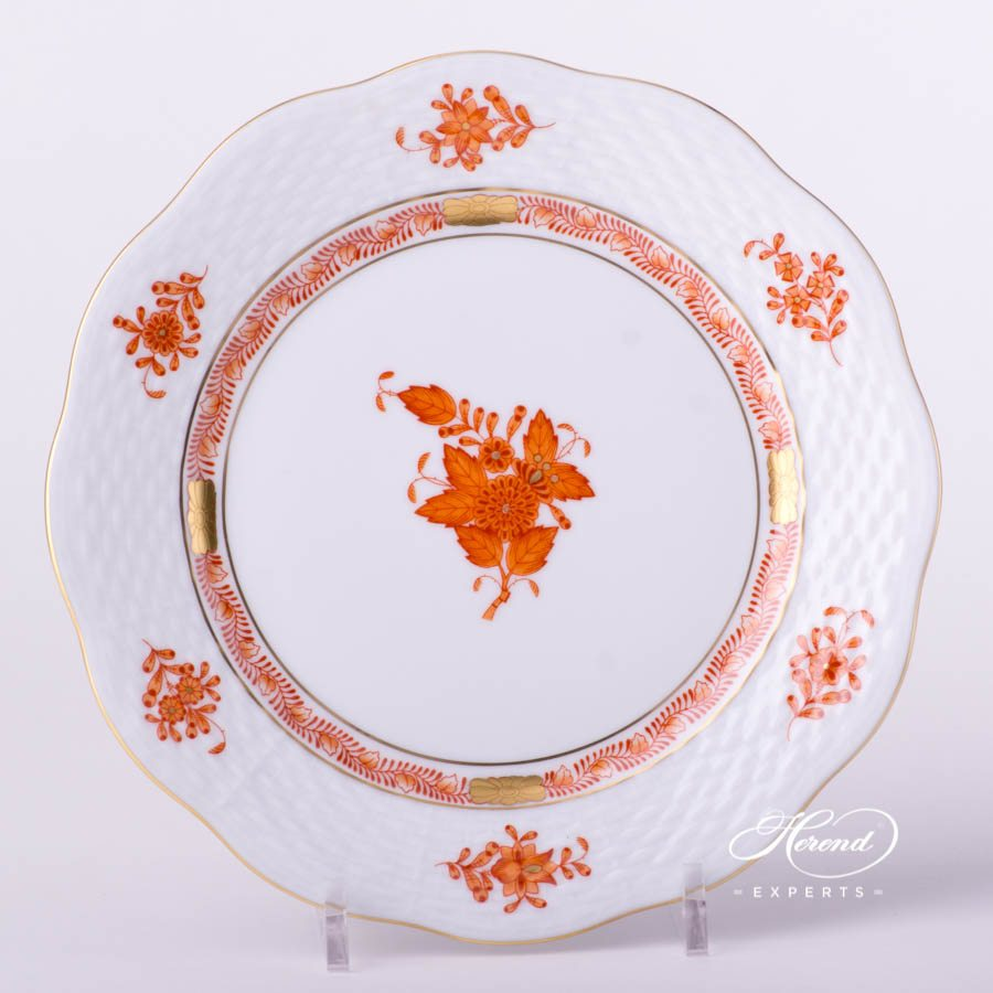 Dessert Plate 517-0-00 AOG Chinese Bouquet Rust / Apponyi Orange decor. Herend porcelain tableware. Hand painted