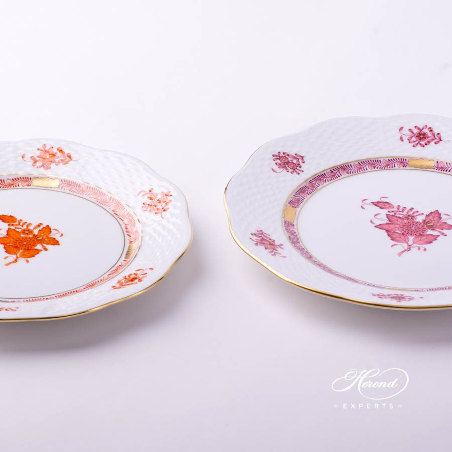 Dessert Plate 517-0-00 AOG Chinese Bouquet Rust and Light Raspberry / Apponyi Orange and Light Purple decor. Herend porcelain tableware. Hand painted