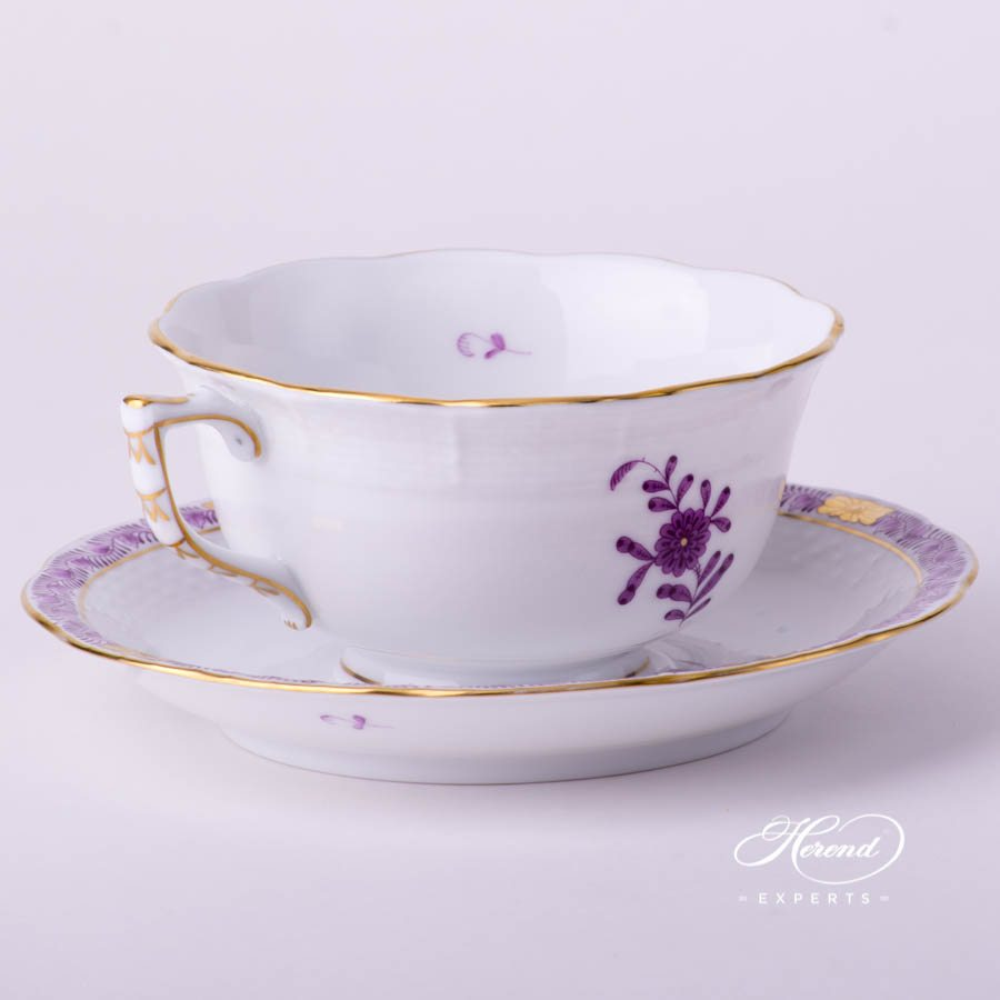 Tea Cup and Saucer 733-0-00 AL Apponyi Lilac decor. Herend porcelain tableware. Hand painted