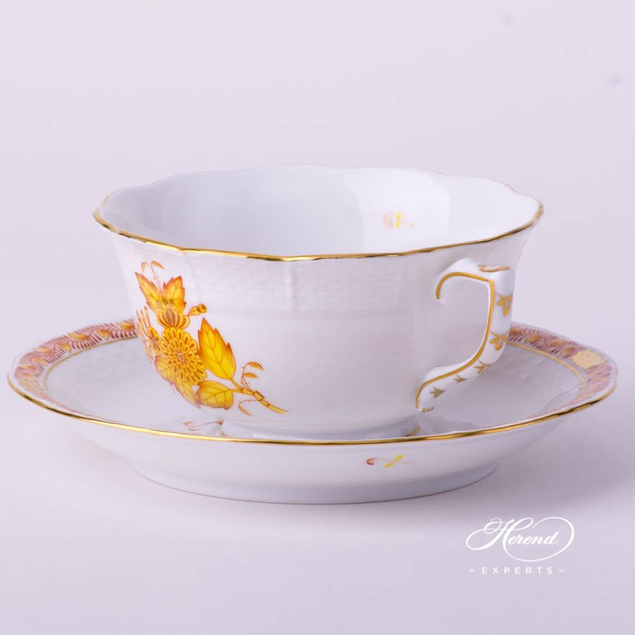 Tea Cup and Saucer 733-0-00 AJ Apponyi Yellow decor. Herend porcelain tableware. Hand painted
