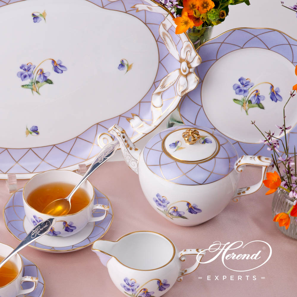Tea Set for 2 Persons - Sisi Violet Flower design. Herend fine china hand painted. Classic Herend pattern. Limited edition