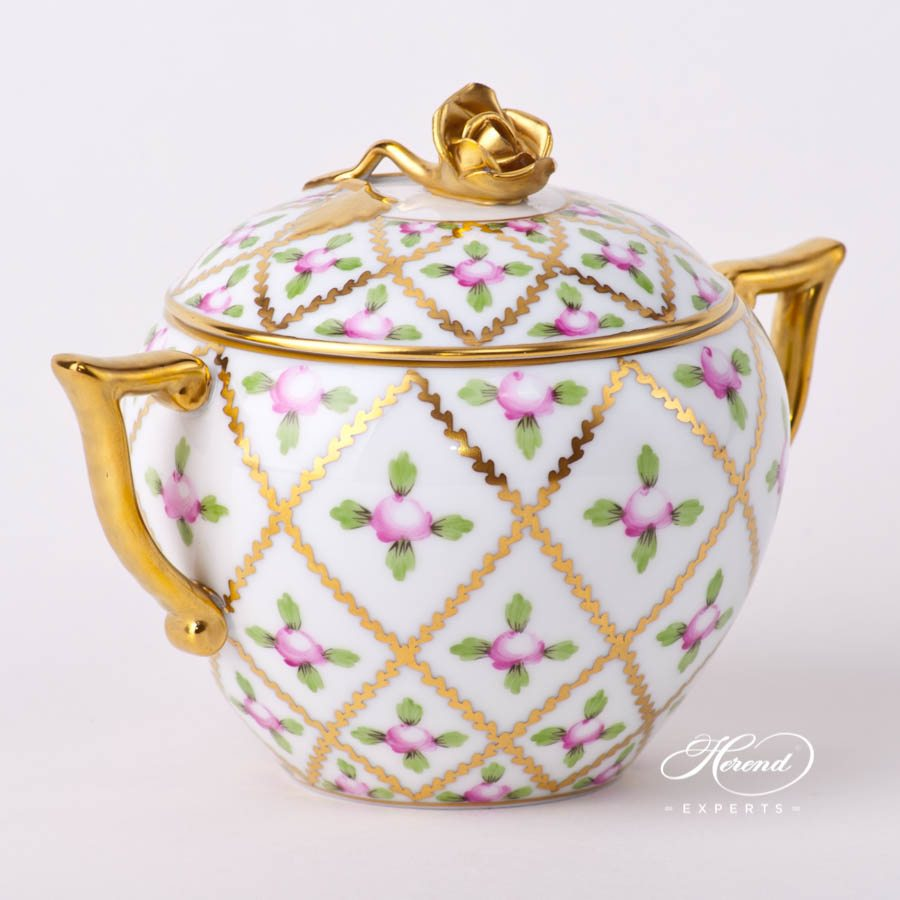 Sugar Basin w. Rose Knob20471-0-09 SPROG Sevres Roses design. Herend fine china hand painted. Classical and Luxury Herend pattern