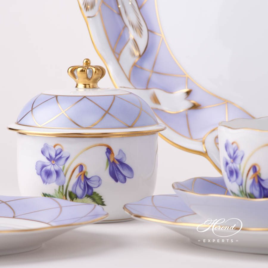 Tea Set for 2 Persons - Herend Sisi Violet-RI Flower decor. Herend porcelain tableware. Hand painted. Afternoon Tea