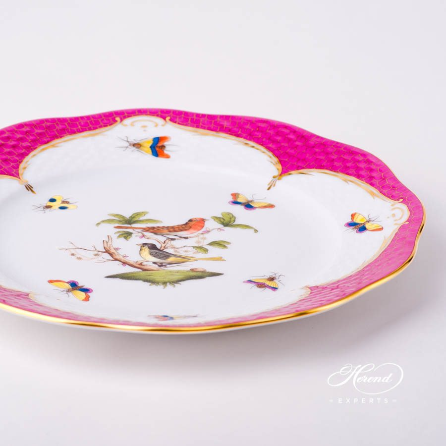 Dessert Plate 519-0-00 RO-EOP Rothschild Bird Raspberry / Purple Fish Scale design. Herend fine china tableware. Hand painted