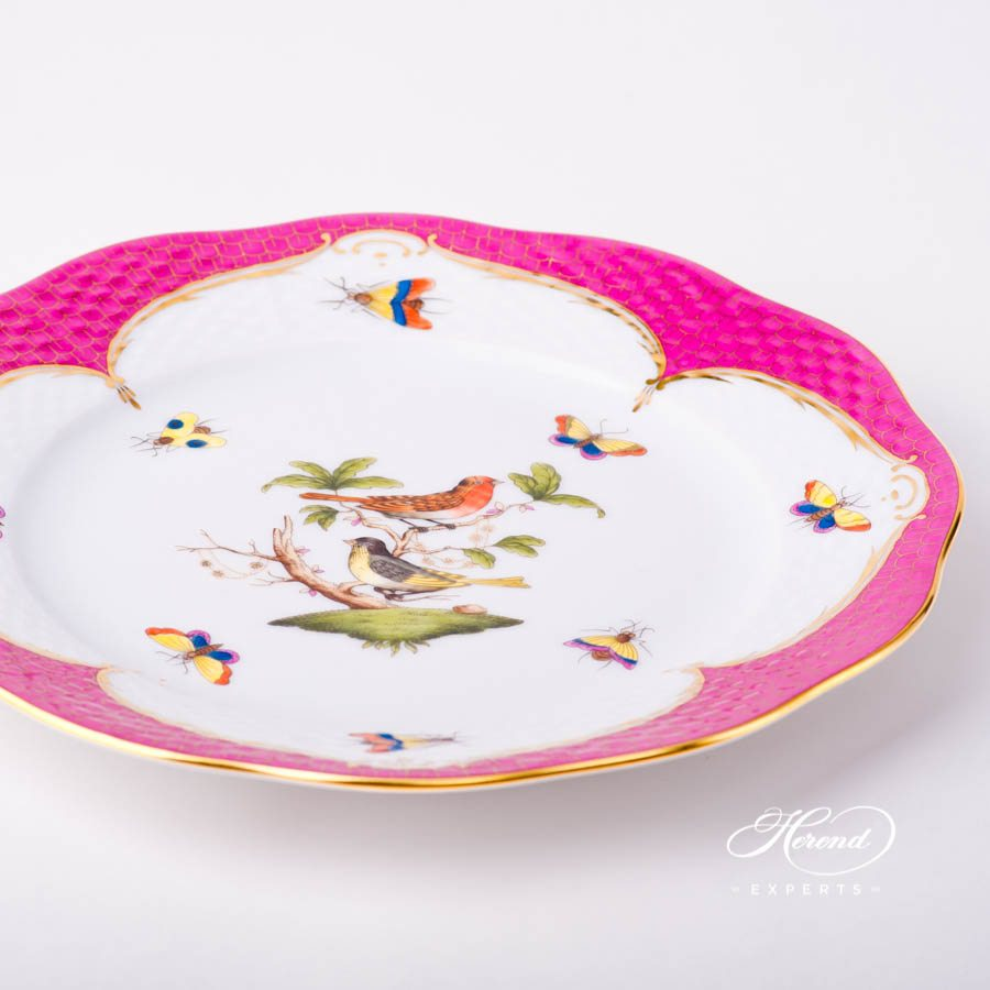 Dessert Plate 519-0-00 RO-EOP Rothschild Bird Raspberry / Purple Fish Scale decor. Herend porcelain tableware. Hand painted