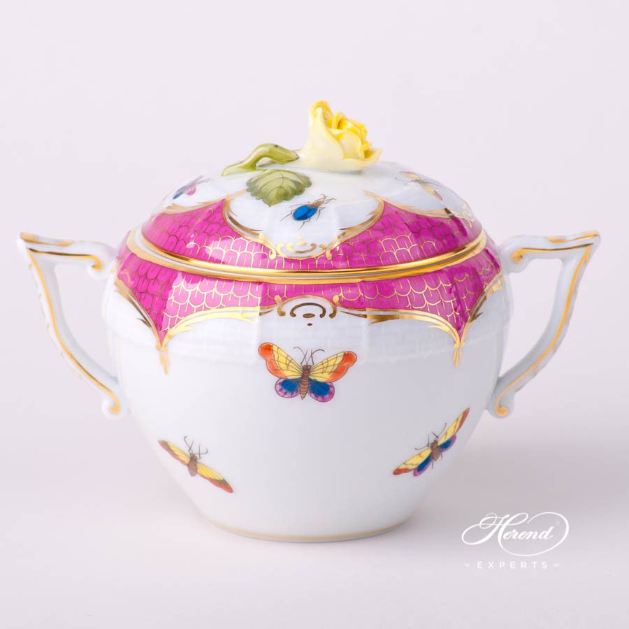 Sugar Basin with Rose Knob 471-0-09 RO-EOP Rothschild Bird Raspberry / Purple Fish Scale decor. Herend porcelain tableware. Hand painted