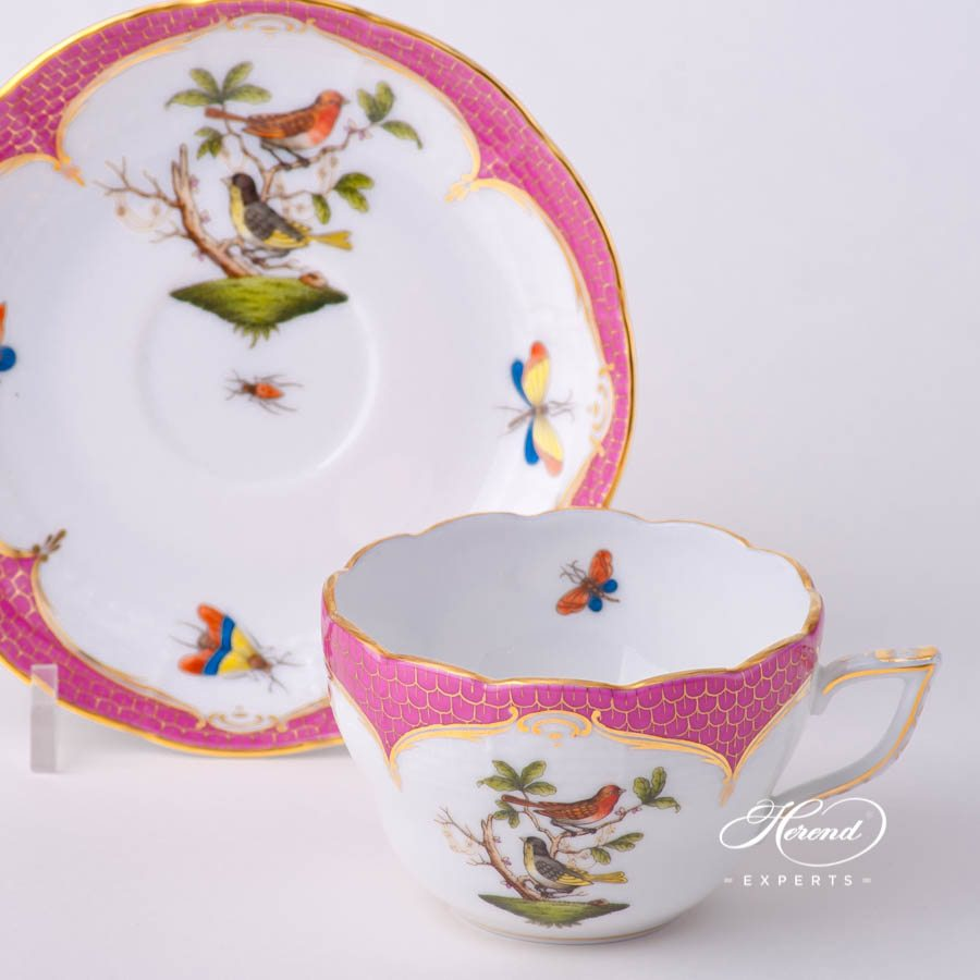 Tea Cup / Coffee Cup and Saucer 730-0-00 RO-EOP Rothschild Bird Raspberry / Purple Fish Scale decor. Herend porcelain tableware. Hand painted