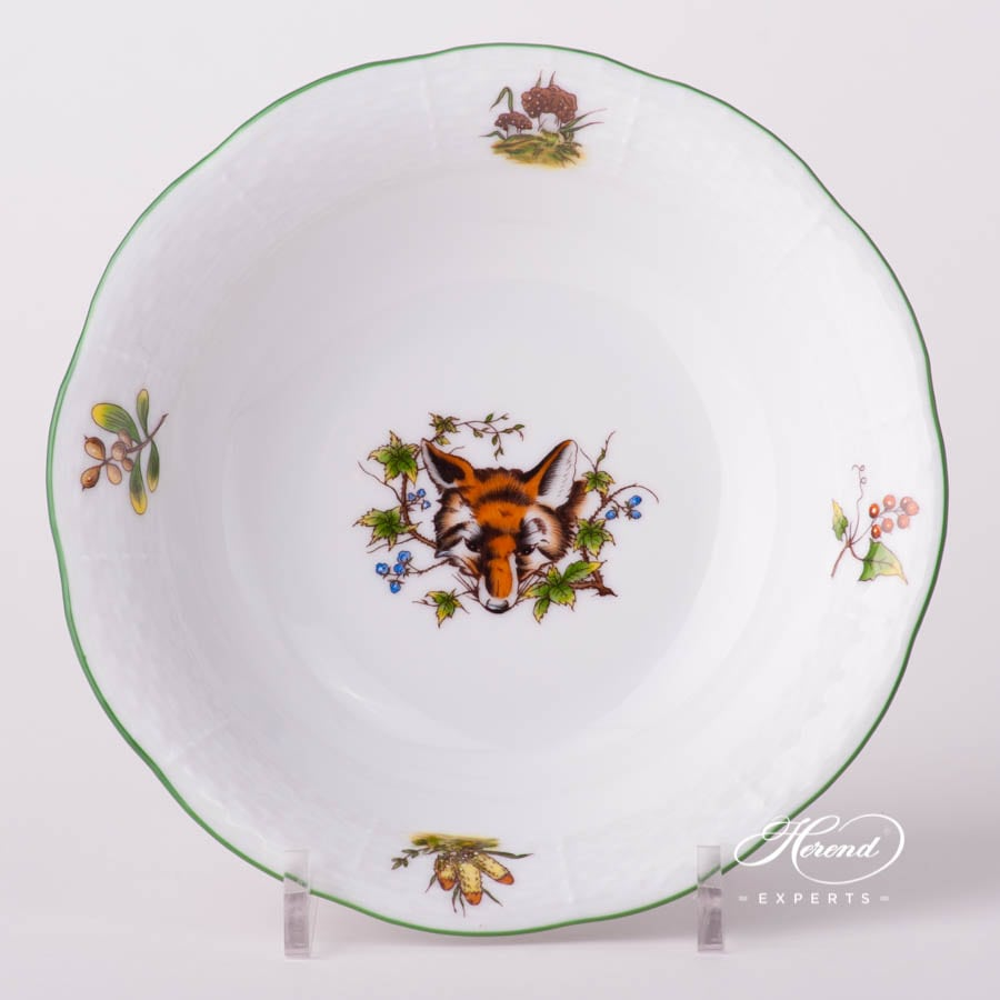 Bowl 330-0-00 CHTM Hunter Trophies design. Herend fine china tableware. Fox motif. Hand painted