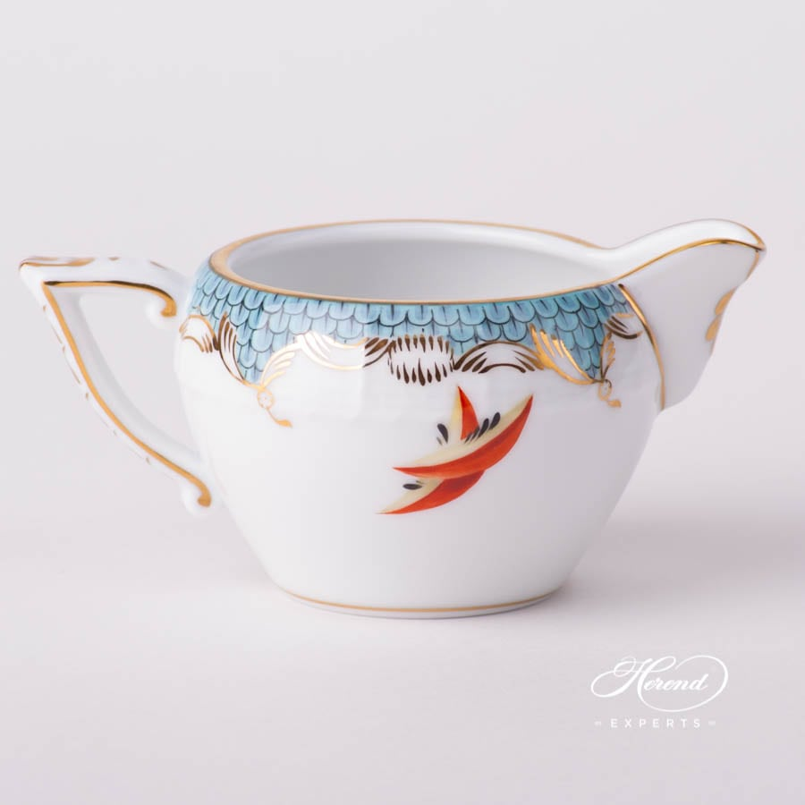 Creamer 649-0-00 CFR-ET Fruits w. Turquoise Fish Scale design. Herend fine china tableware. Hand painted