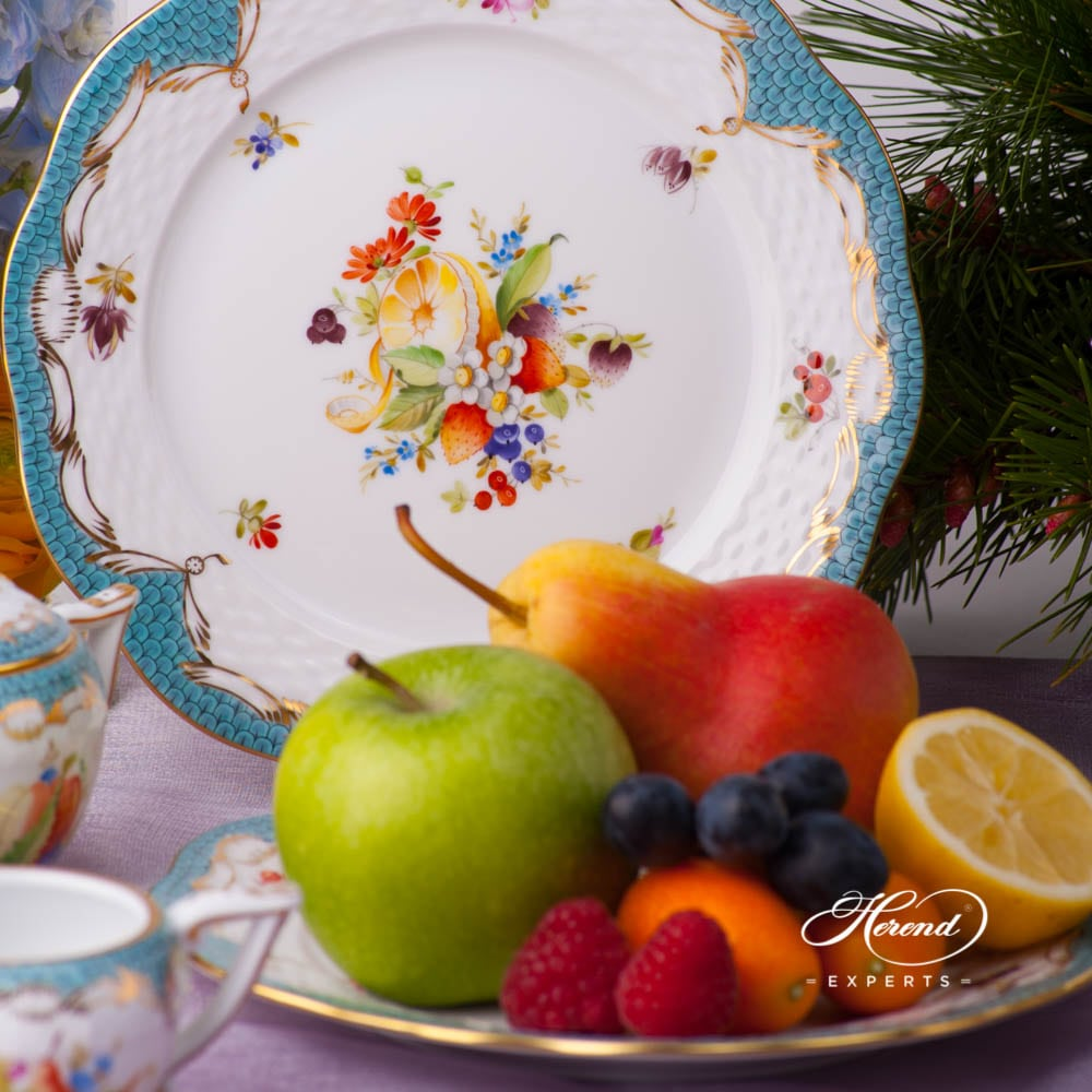 Dessert Plate 517-0-00 CFR-ET Fruits w. Turquoise Fish Scale design. Herend porcelain tableware. Hand painted