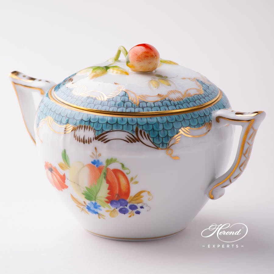 Sugar Basin with Strawberry Knob 472-0-11 CFR-ET Fruits w. Turquoise Fish Scale design. Herend porcelain tableware. Hand painted