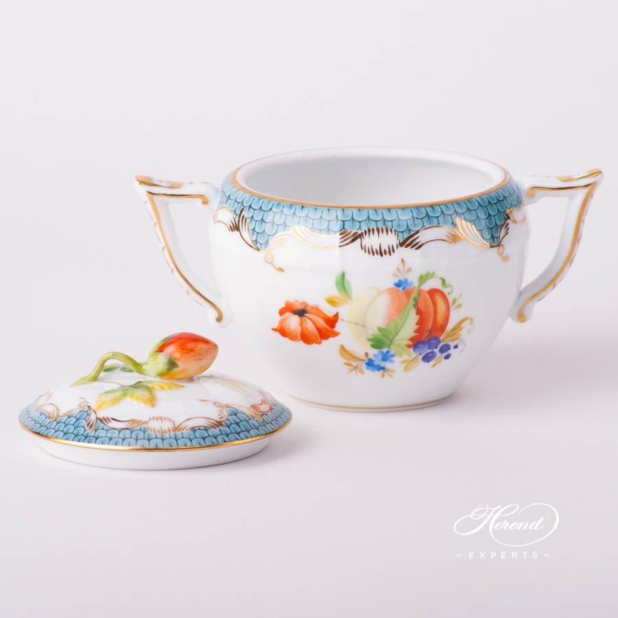 Sugar Basinwith StrawberryKnob472-0-11 CFR-ET Fruits w. Turquoise Fish Scale design. Herend porcelain tableware. Hand painted