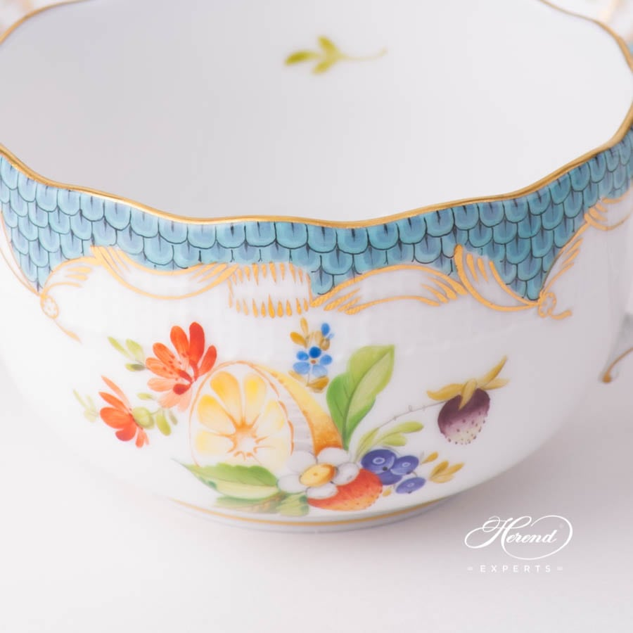 Tea Cup with Saucer 724-0-00 CFR-ET Fruits with Turquoise Fish Scale design. Herend fine china tableware. Hand painted. CFR-ET #2 motif