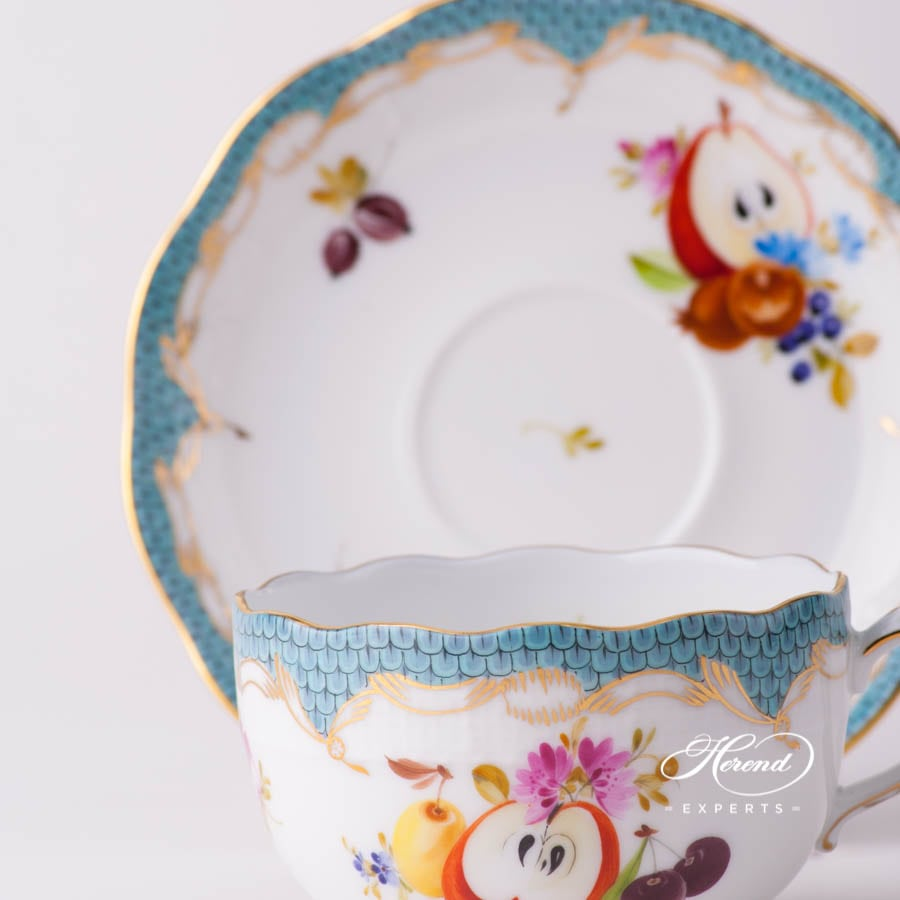 Tea Cup with Saucer 724-0-00 CFR-ET Fruits with Turquoise Fish Scale design. Herend fine china tableware. Hand painted. CFR-ET #10 motif