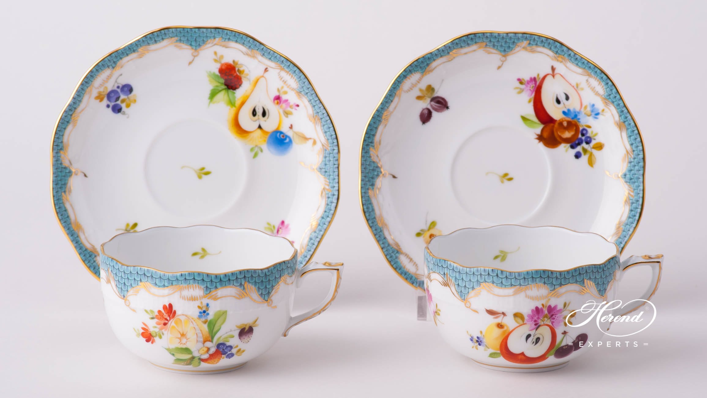 Tea Cup with Saucer 724-0-00 CFR-ET Fruits with Turquoise Fish Scale design. Herend fine china tableware. Hand painted