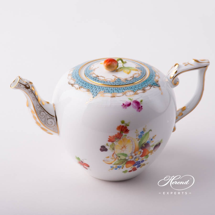 Tea Pot with Strawberry Knob 606-0-11 CFR-ET Fruits w. Turquoise Fish Scale design. Herend porcelain tableware. Hand painted