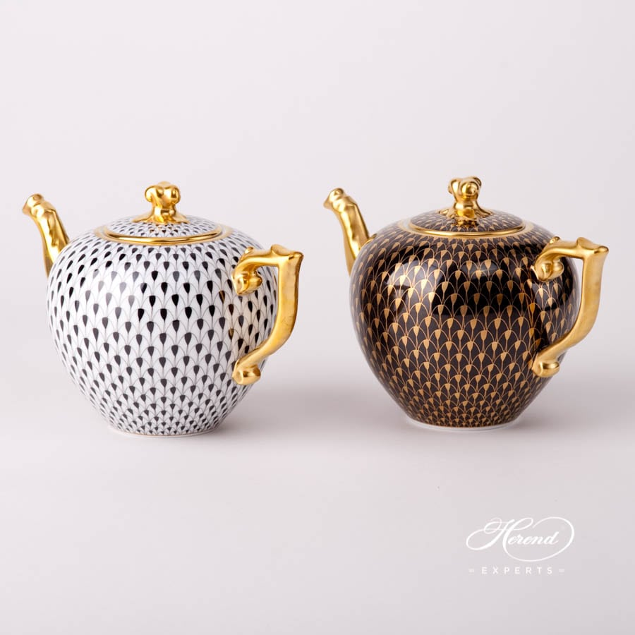 Tea Pot with Twisted Knob 20606-0-06 VHN Black Fish Scale and VHN-OR Gold Fish Scale designs. Herend fine china tableware. Hand painted