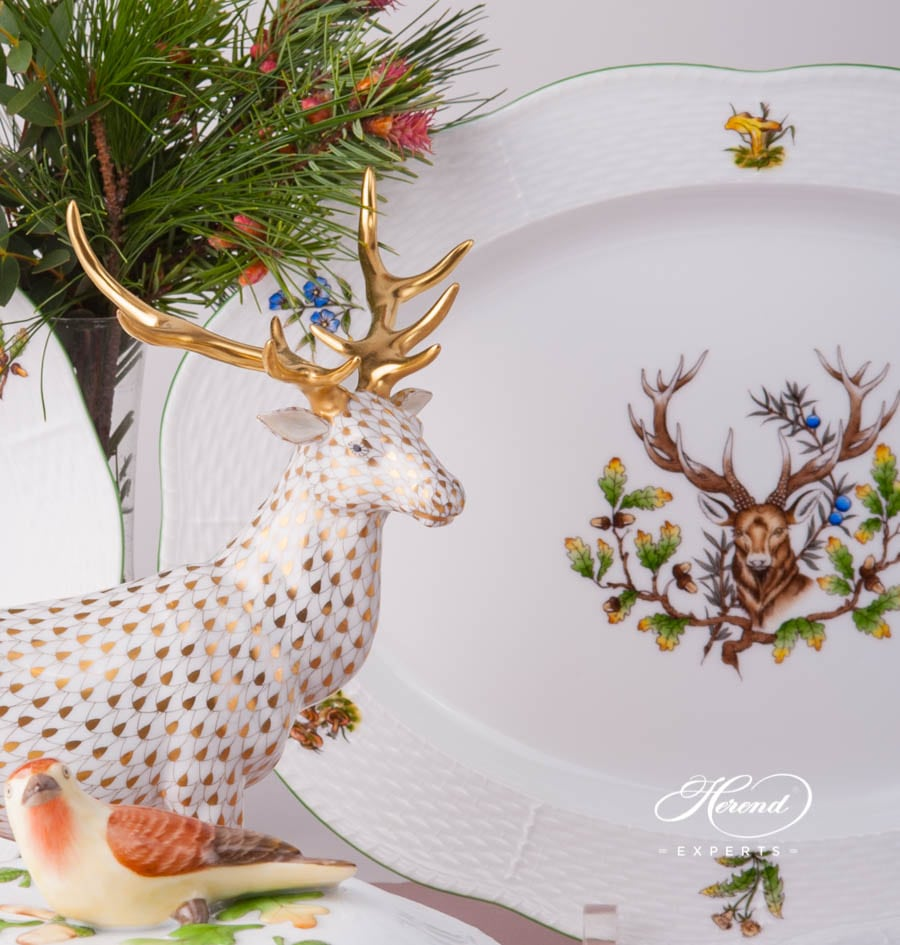 Oval Dish 103-0-00 CHTM Hunter Trophies design. Herend fine china tableware. Deer motif. Hand painted