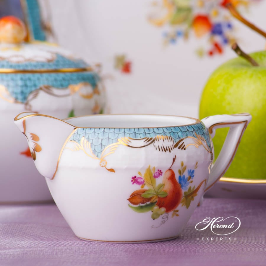 Tea Set for 2 Persons - Fruits w. Turquoise Fish Scale CFR-ET design. Herend porcelain tableware. Hand painted