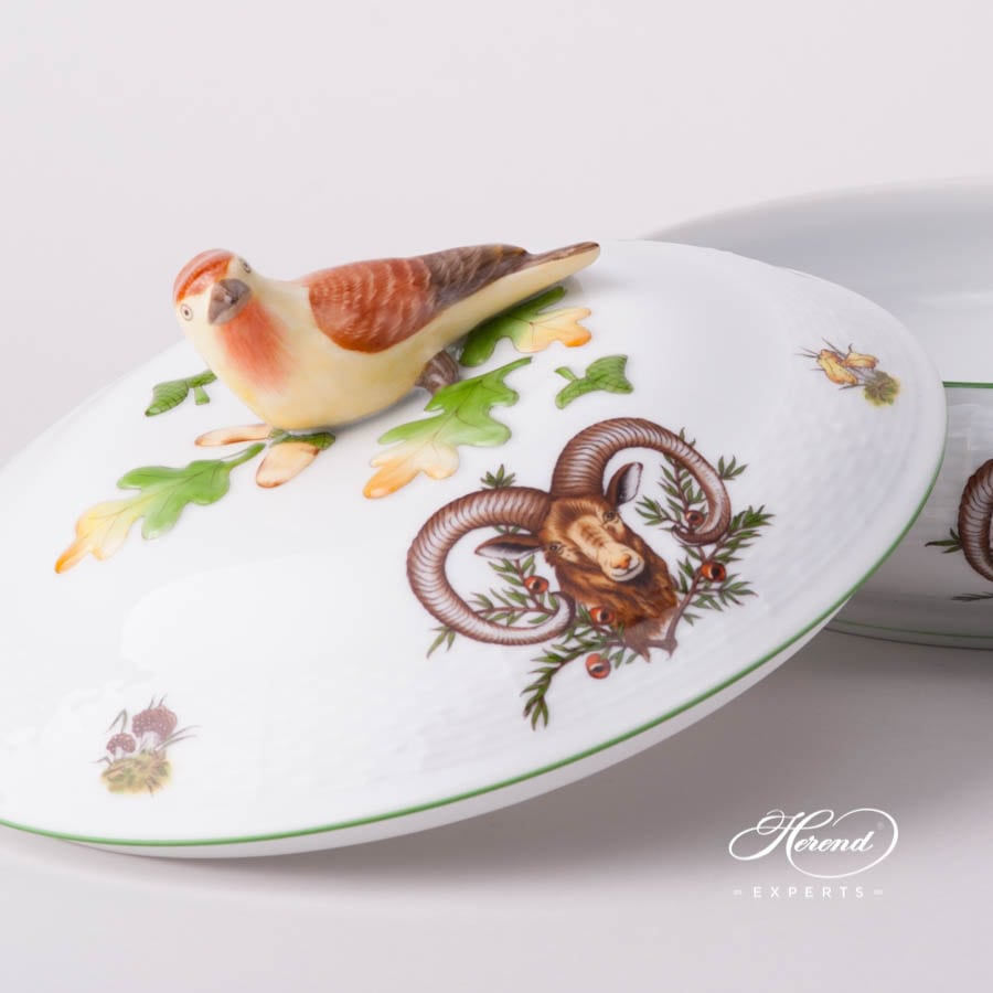 Vegetable / Ragout Dish 86-0-05 CHTM Forest Animals pattern w. Green rim. Herend fine china