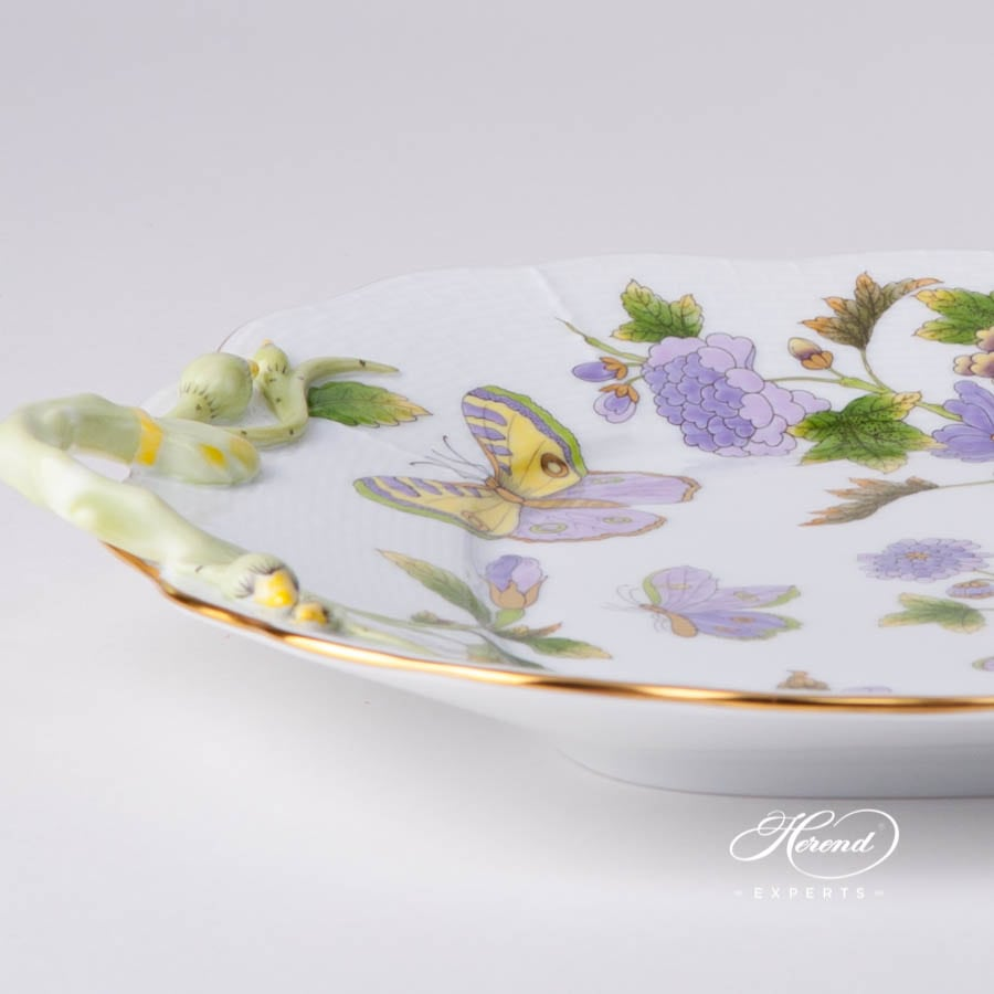 Cake Plate with Branch Handles 430-0-00 EVICT1 - Royal Garden Green Flower w. Butterfly design. Herend fine china tableware. Hand painted