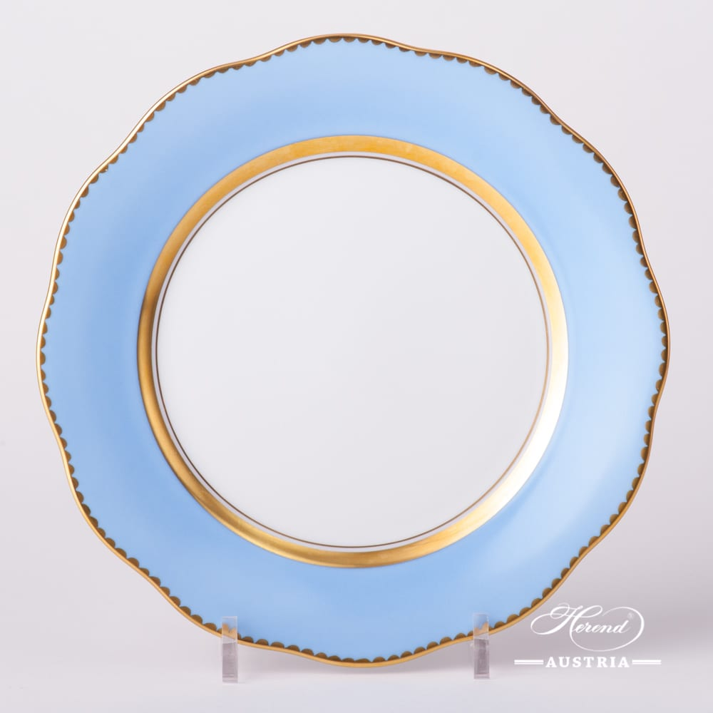 Dessert Plate 20517-0-00 X-CB1 Monochrome Light Blue Edge design. Herend fine china tableware. Hand painted