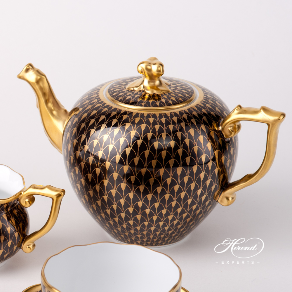 Tea Set for 2 Persons - Gold Fish Scale on Black Background - VHN-OR pattern. Herend fine china tableware. Hand painted
