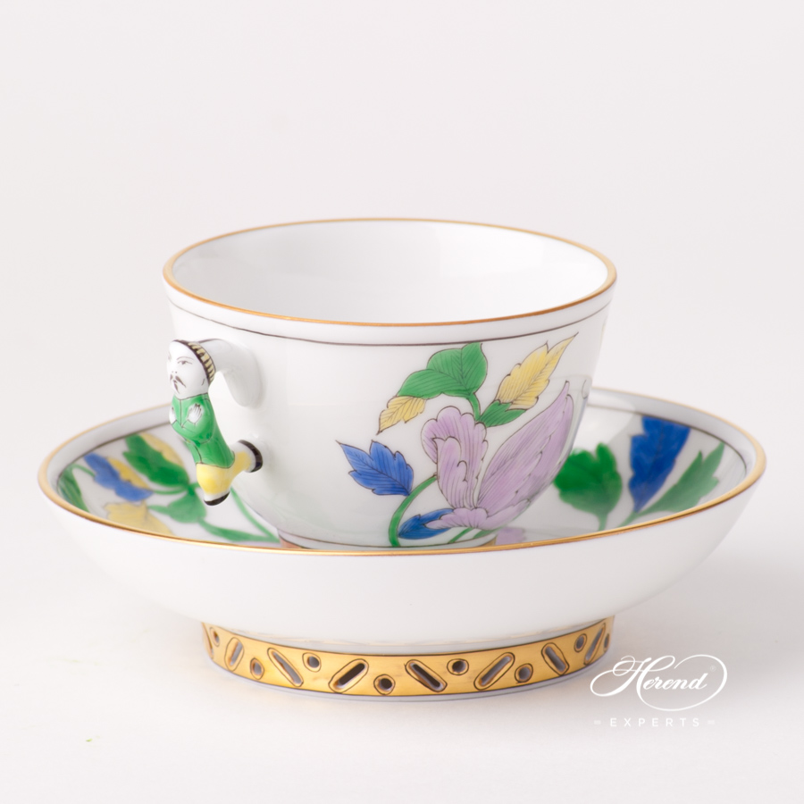 Tea / Coffee / Espresso Cup with Saucer 3371-0-21 PVFP Peony w. Butterfly design. Herend fine china tableware. Hand painted
