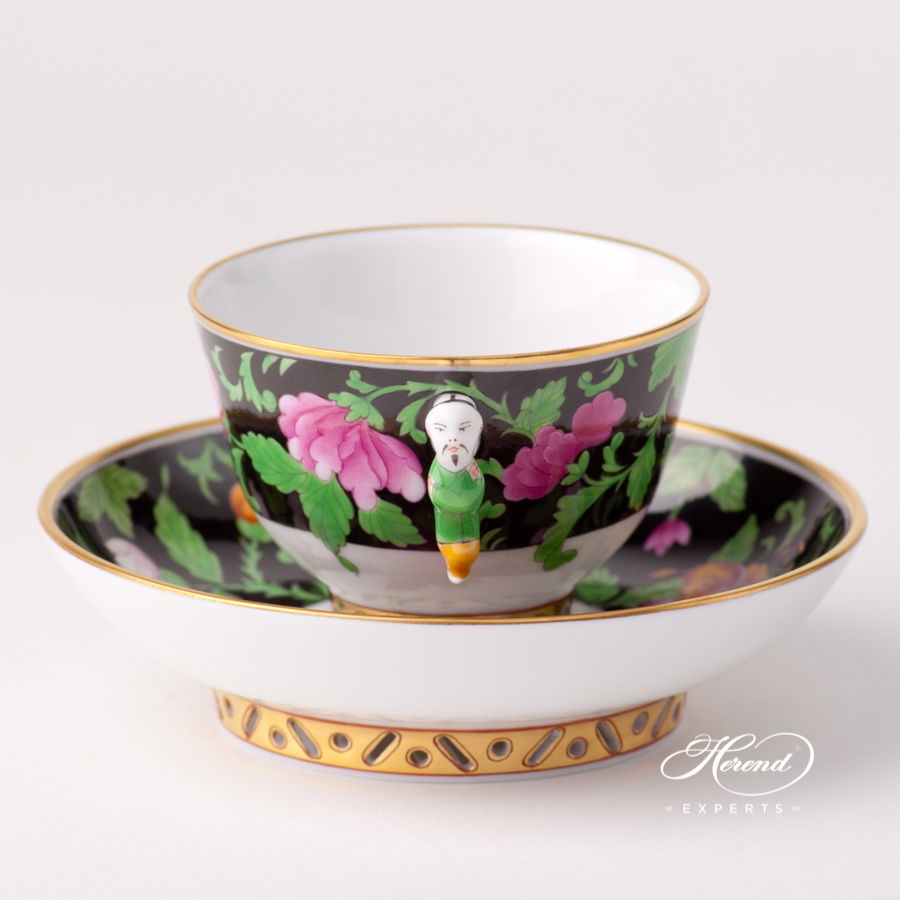 Tea / Coffee / Espresso Cup with Saucer 3371-0-21 QUA Guangxi Peonies design. Herend fine china tableware. Hand painted